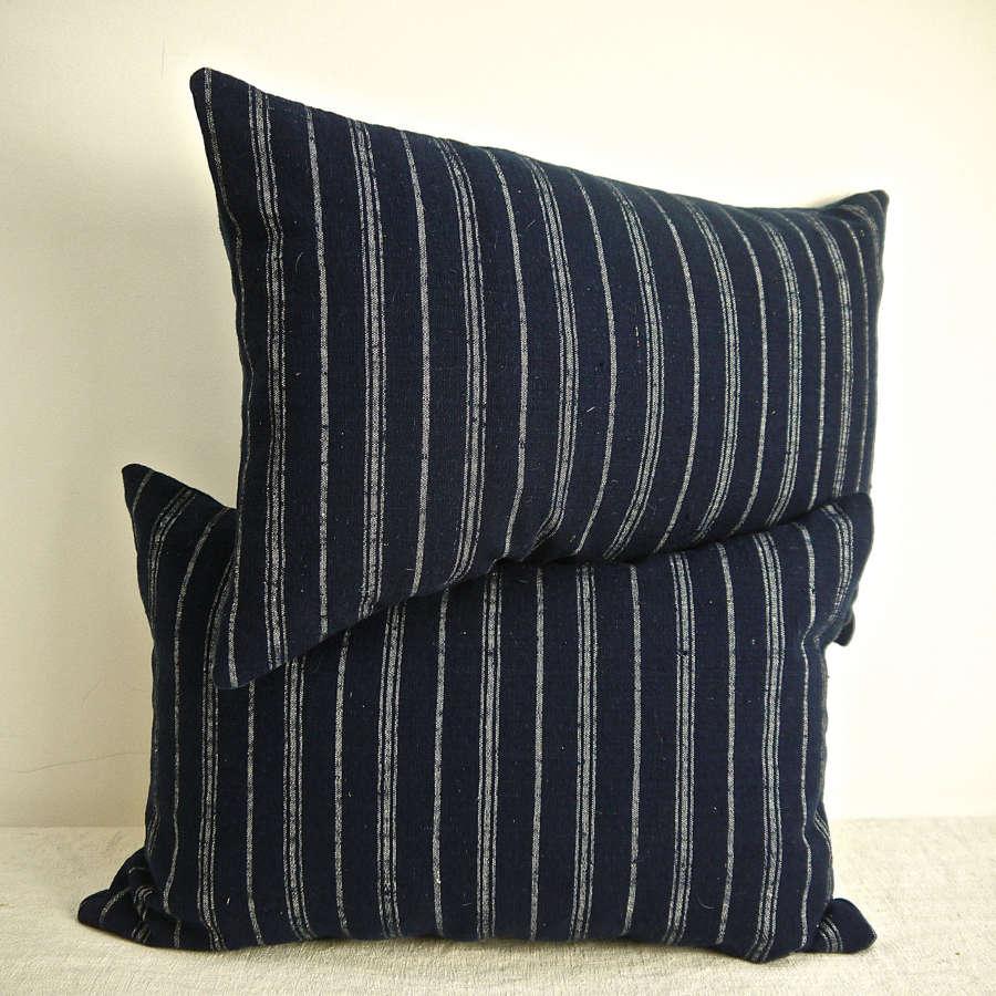 Pair of Indigo & White Stripe Wool Cushions French 19th Century