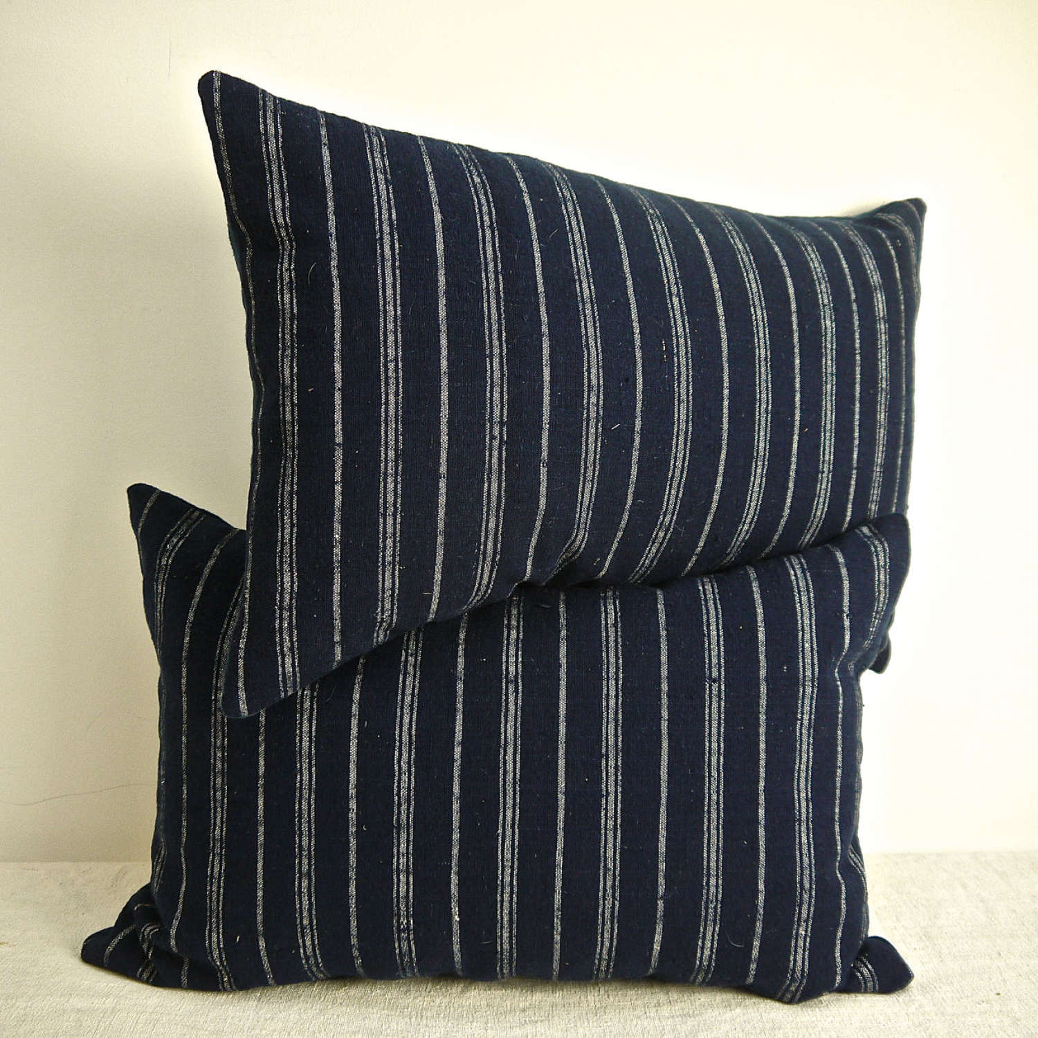 Pair of Indigo & White Stripe Wool Cushions French 19th Century