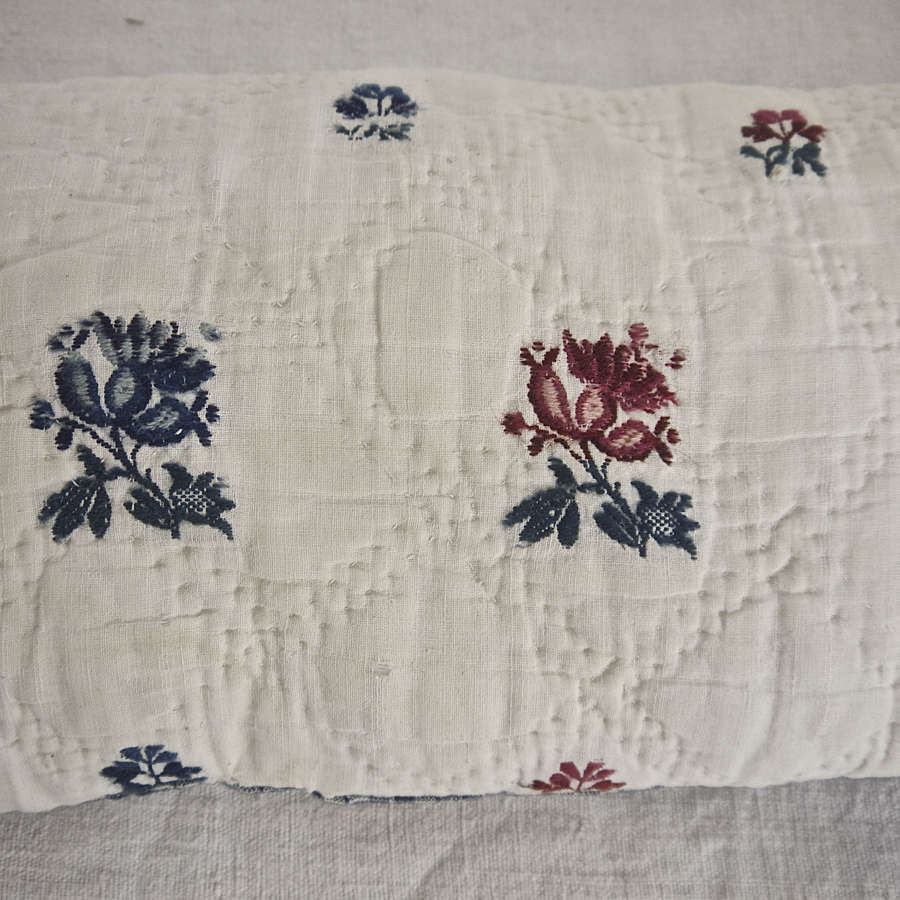 Woven Wool Flowers Lavender Cushion French 18th Century