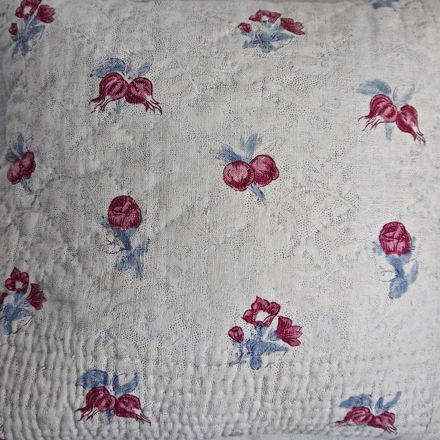 Blockprinted Flowers Lavender Cushion French 18th Century