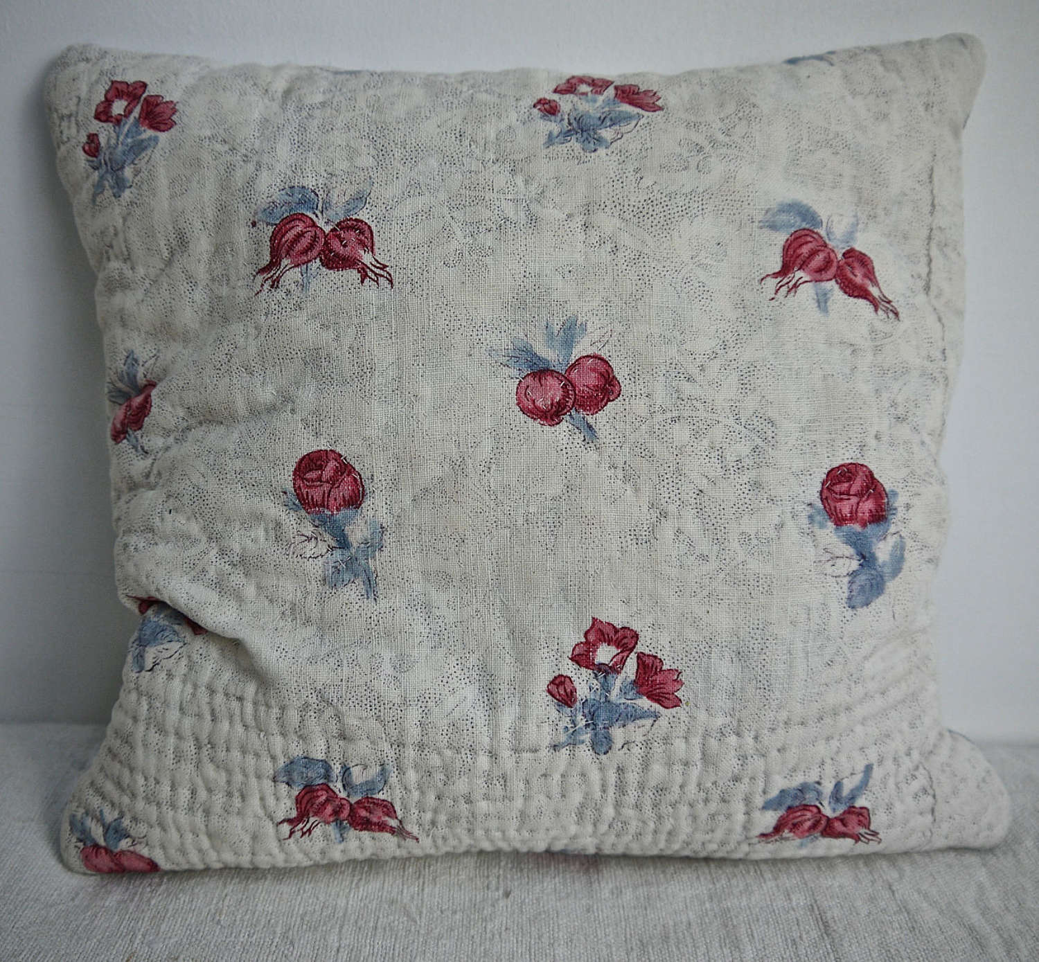 Blockprinted Flowers Lavender Cushion French 18th Century