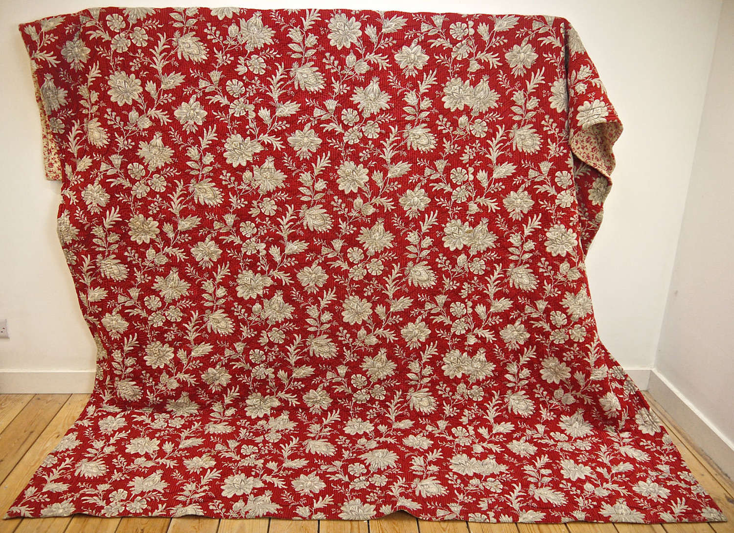 Red Indienne Cotton Quilt French 19th Century