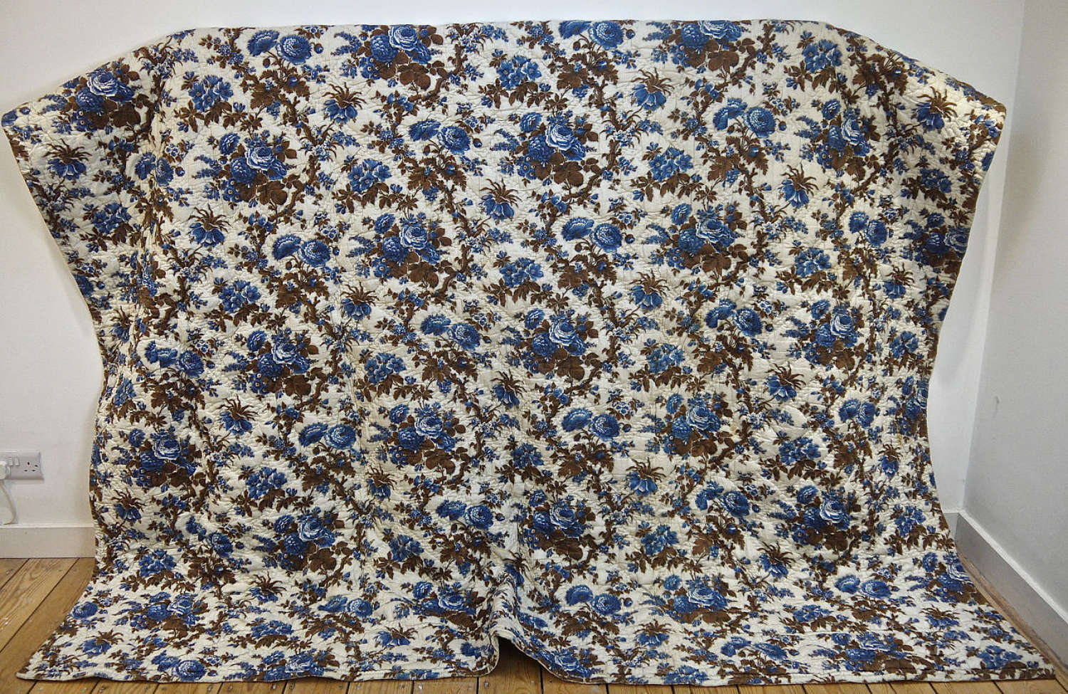 Blue Roses Chintz Quilt french 19th Century
