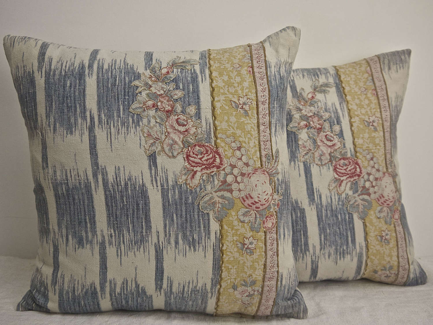 Pair of Appliqued Linen Cushions French 19th Century