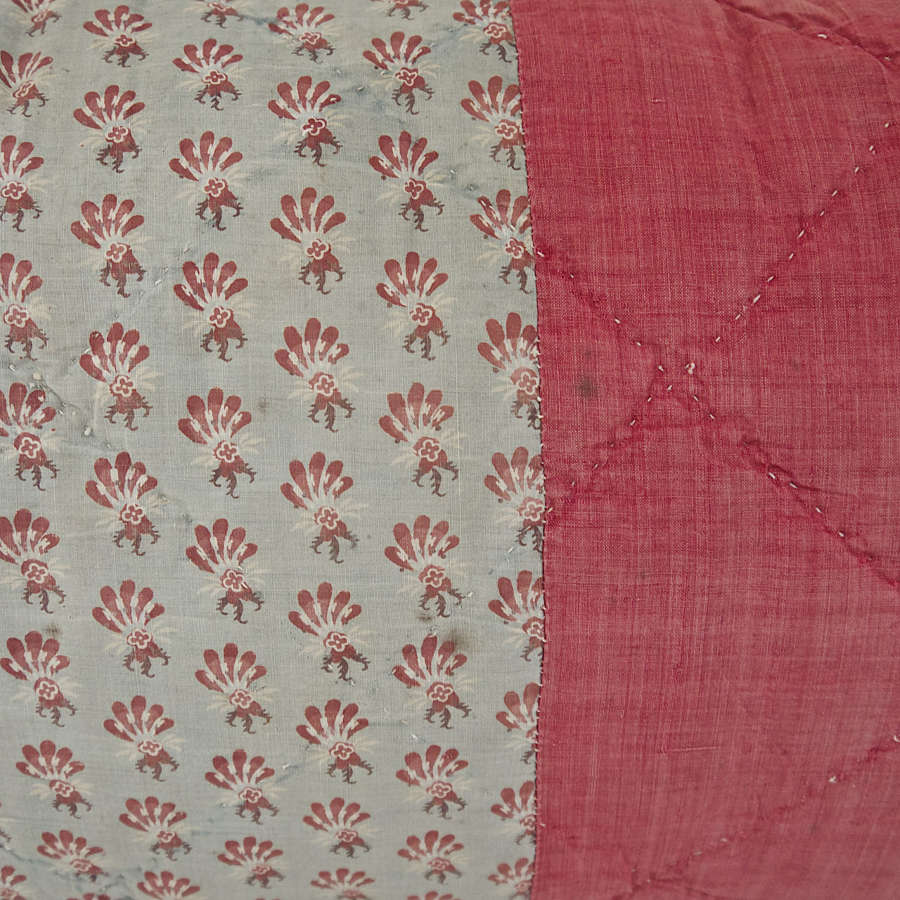 Blockprinted Cotton Cushion French 18th Century