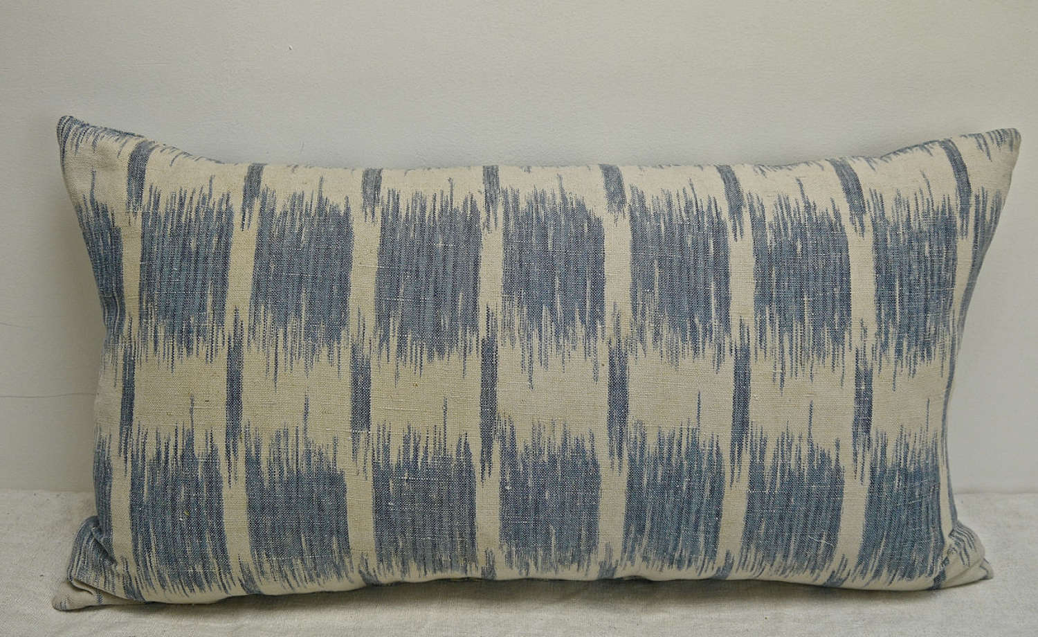 Faded Blue Flamme Cotton Cushion French 19th Century