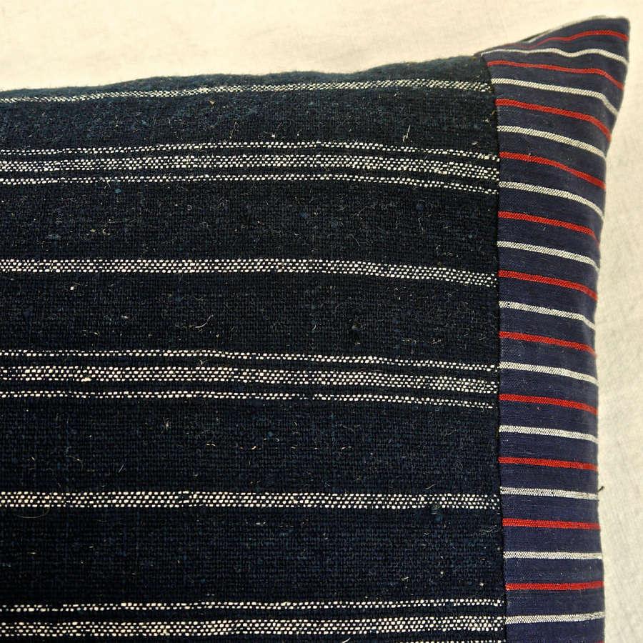 Indigo & White Striped Wool Linen Cushion French 19th Century