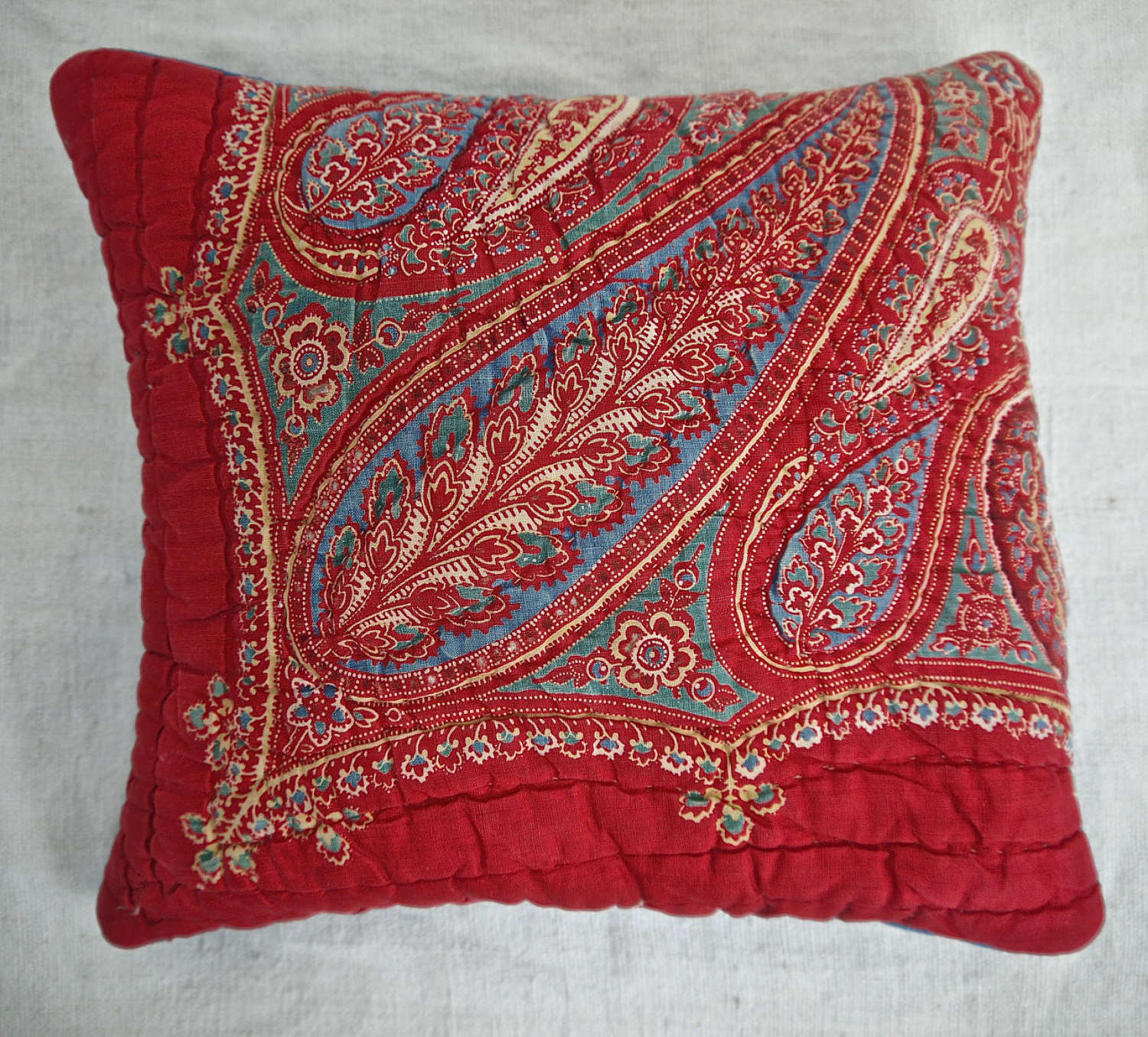 Red Paisley Lavender Cushion French 19th Century