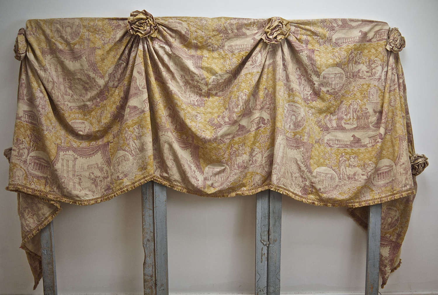 Pair of Toile Linen Pelmets French 19th Century