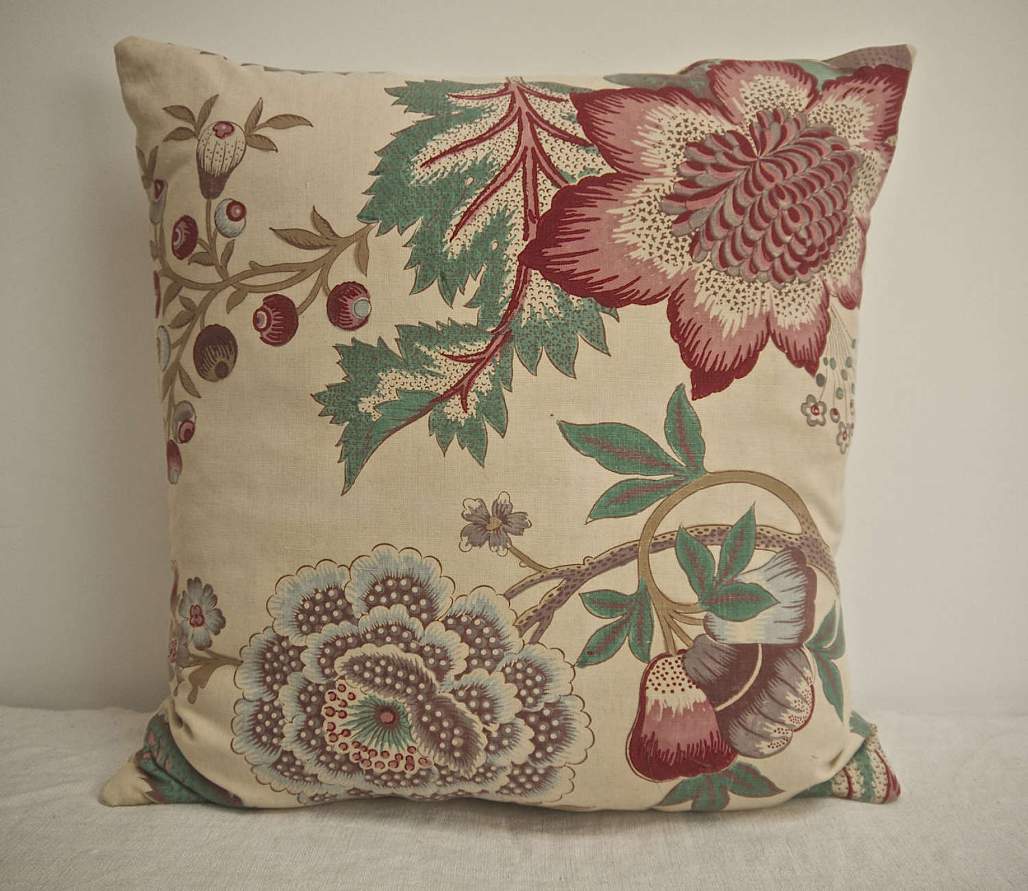 Indienne Cotton Cushion French 19th Century