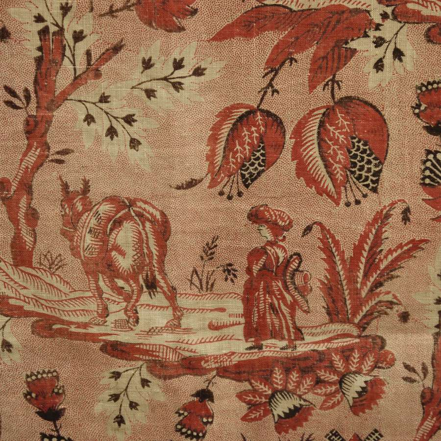 Woman and Donkey Toile Document French 18th Century