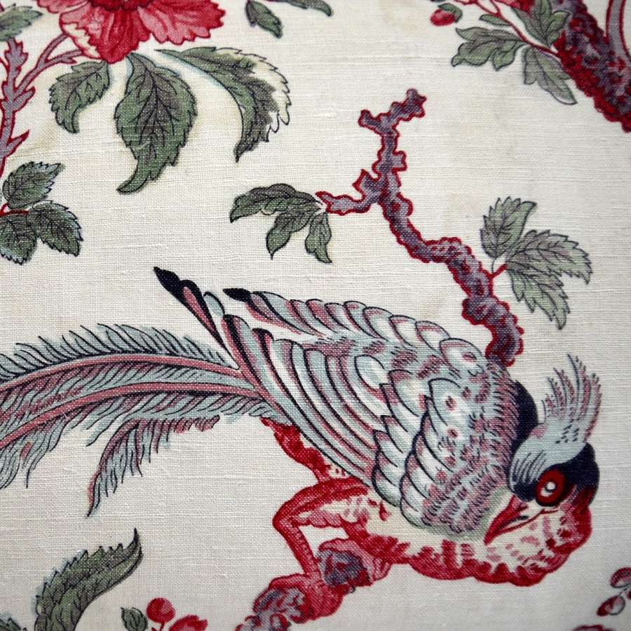 Feathered Bird Indienne Linen Cushion French 19th Century