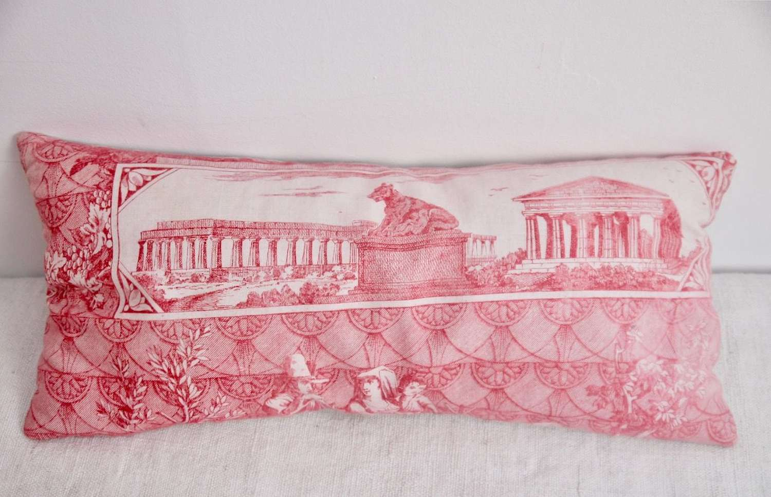 Red Toile Lavender Cushion French 19th Century