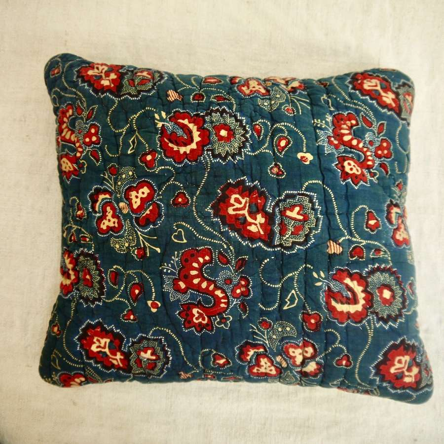 Indigo & Red Cotton Lavender Cushion French 19th Century