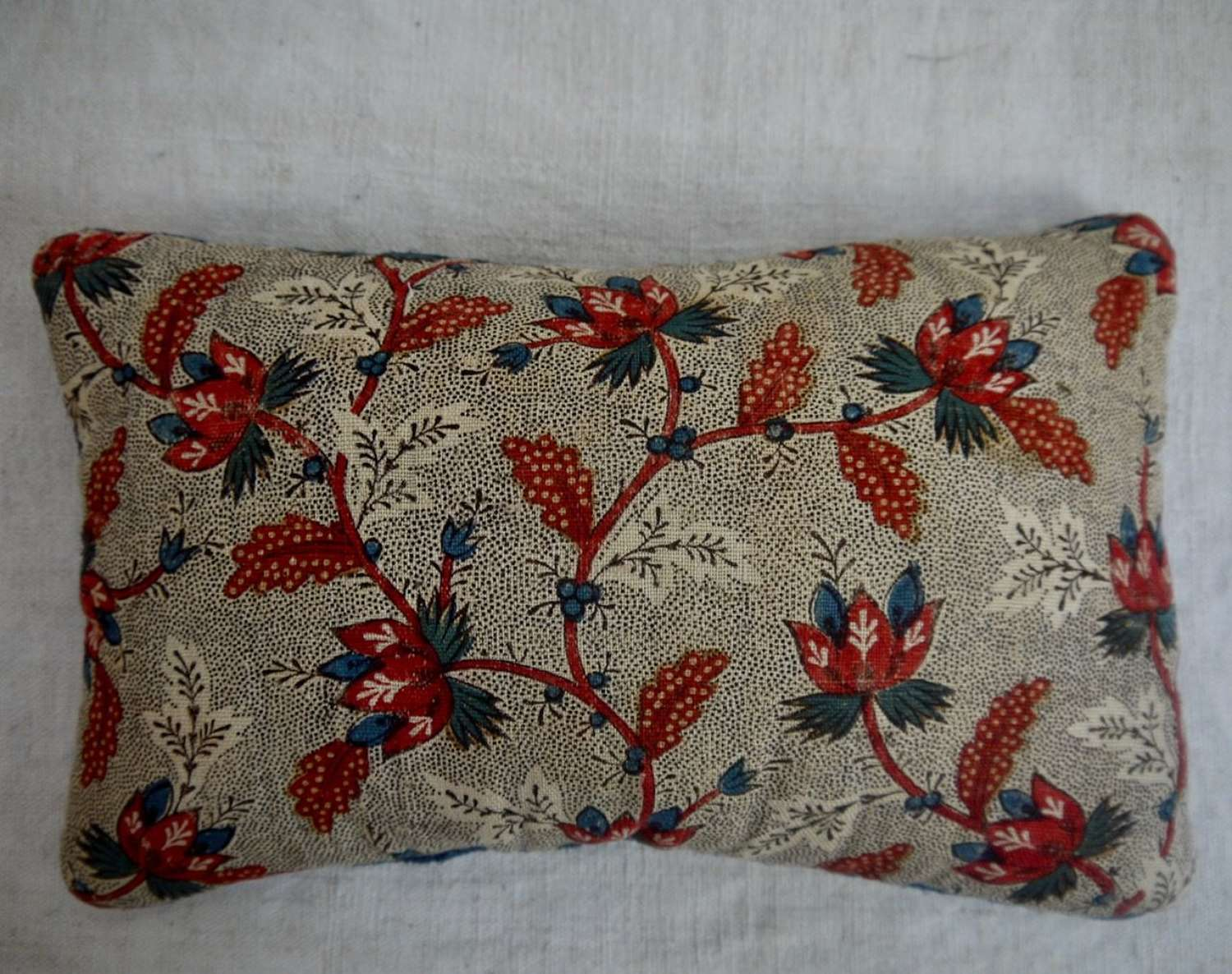 Blockprinted Lavender Cushion French 18th Century