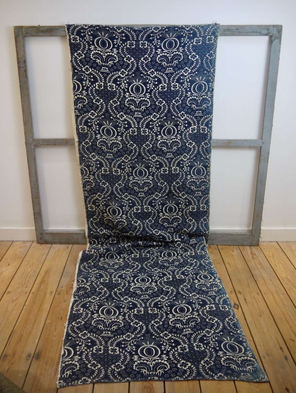 Indigo Resist Blockprinted Cotton Panel French Circa 1800