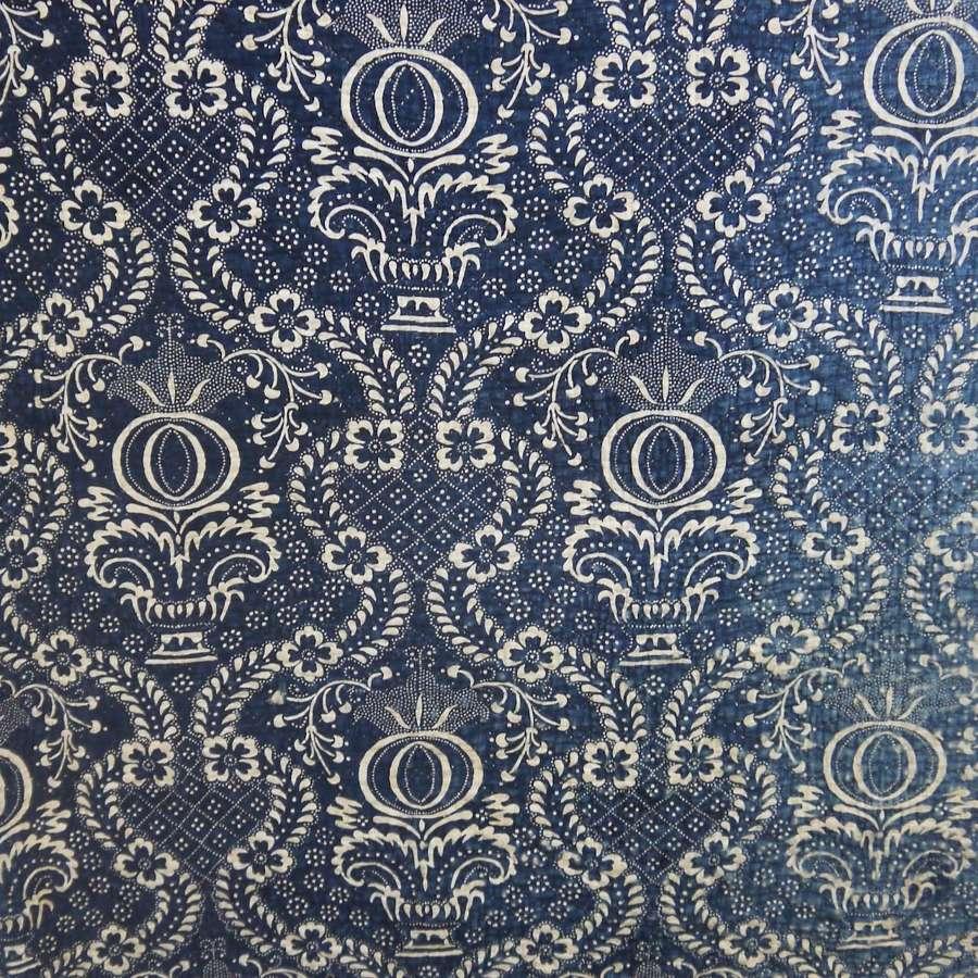 Indigo Resist Cotton Panel French c.1800
