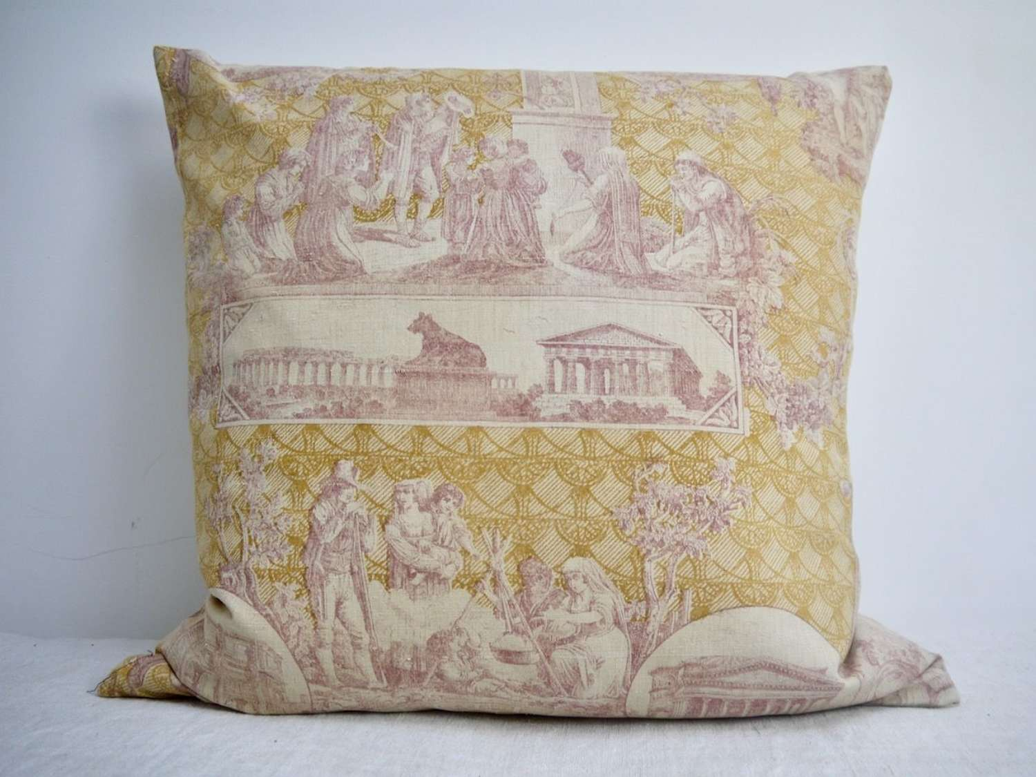 Toile Linen Cushion French Late 19th Century
