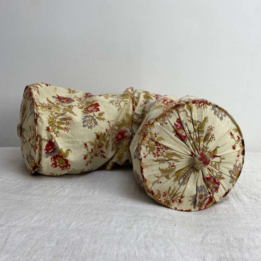Printed Bolster Cushion French 19th Century