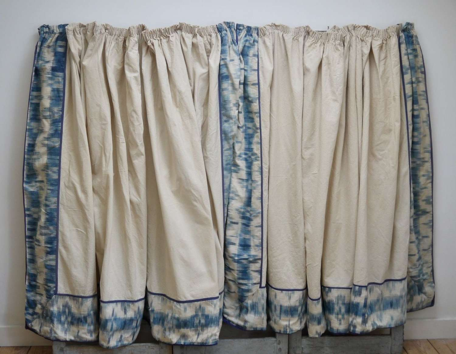 Pair of Flamme Ikat Curtains French