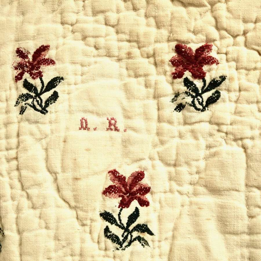 Wool Flowers Woven on Linen Quilt French 18th Century
