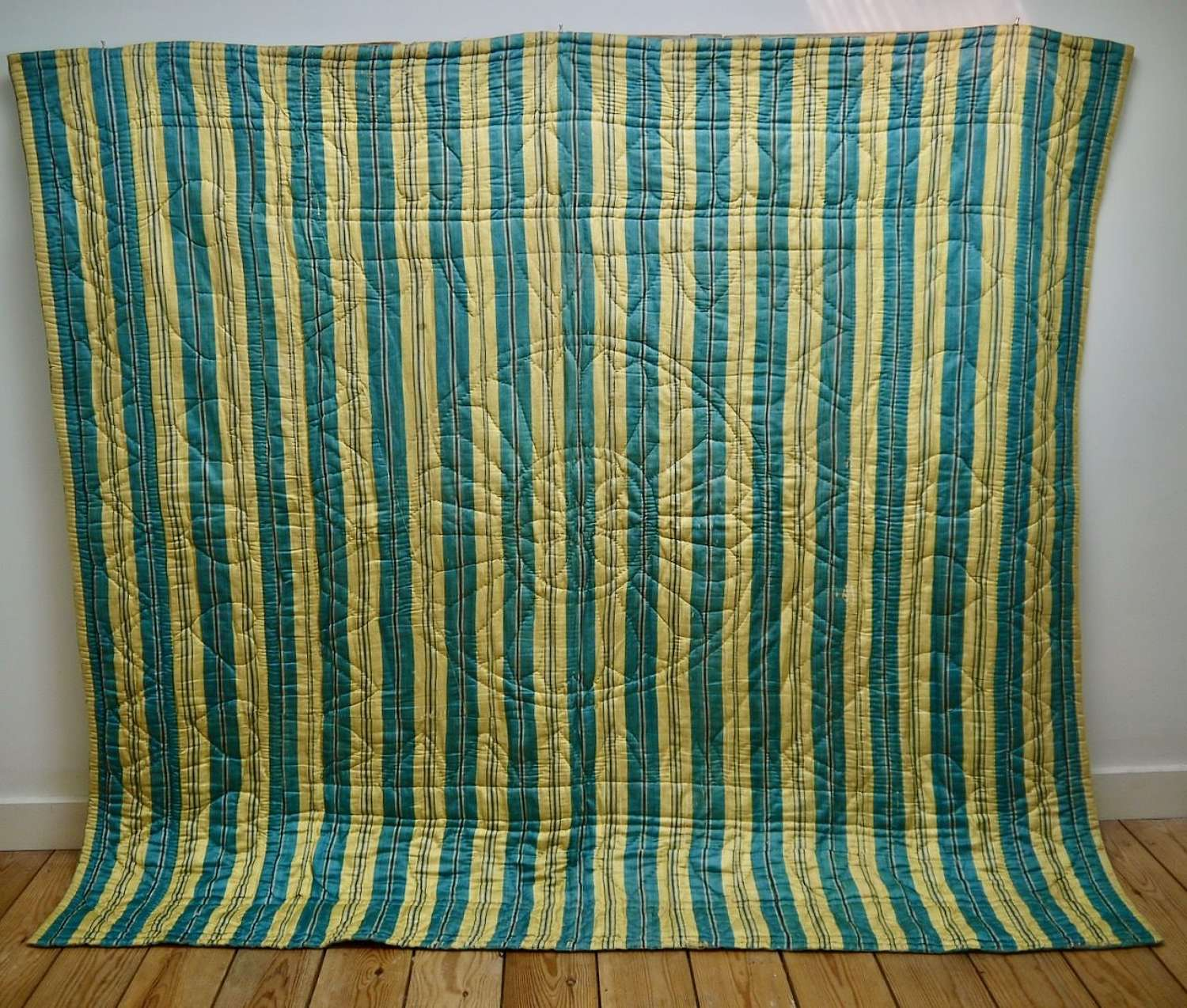 Blue & Yellow Striped Silk Quilt French 18th Century