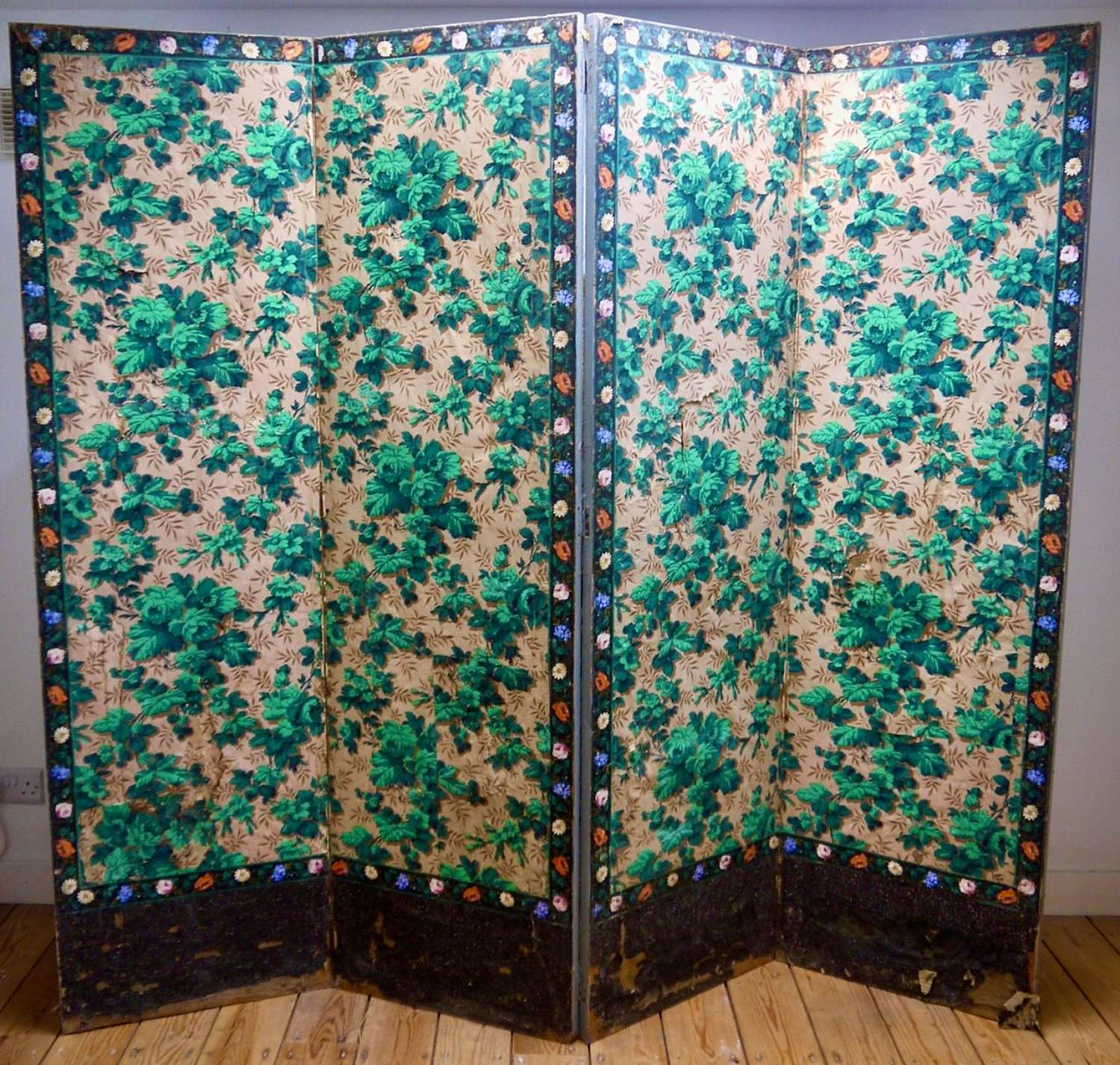 Green Roses Papier Peint 4-Fold Screen French 19th Century