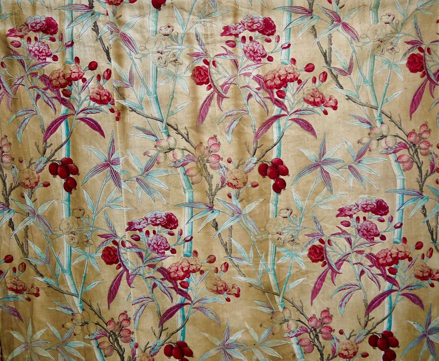 Bamboo & Berries Cotton textile French 19th Century