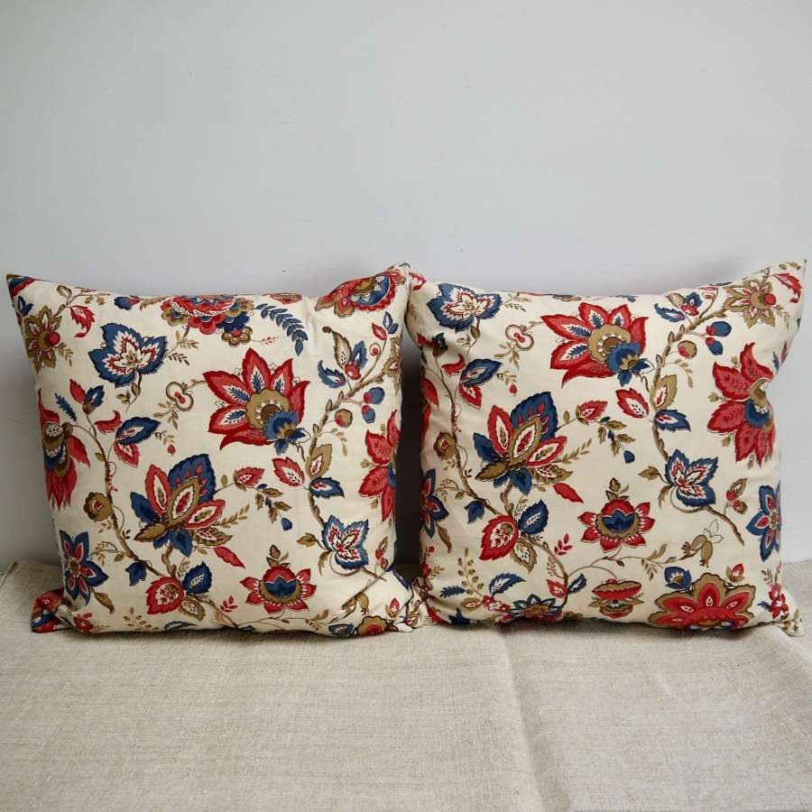 Pair of Red & Blues Indienne Cotton Cushions French c1940s