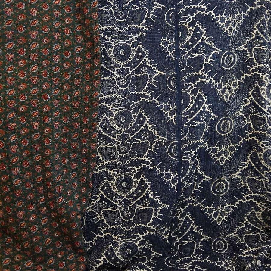 Indigo Resist Cotton Toile de Rouen Quilt French 1790s