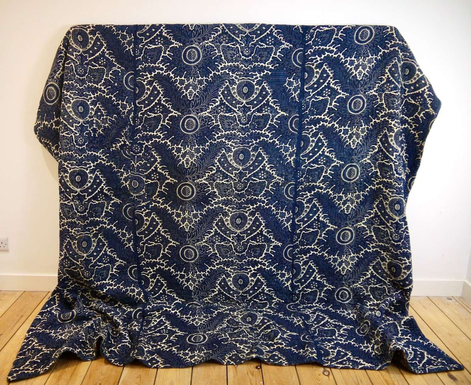 Indigo Resist Cotton Toile de Rouen Quilt French 1790s