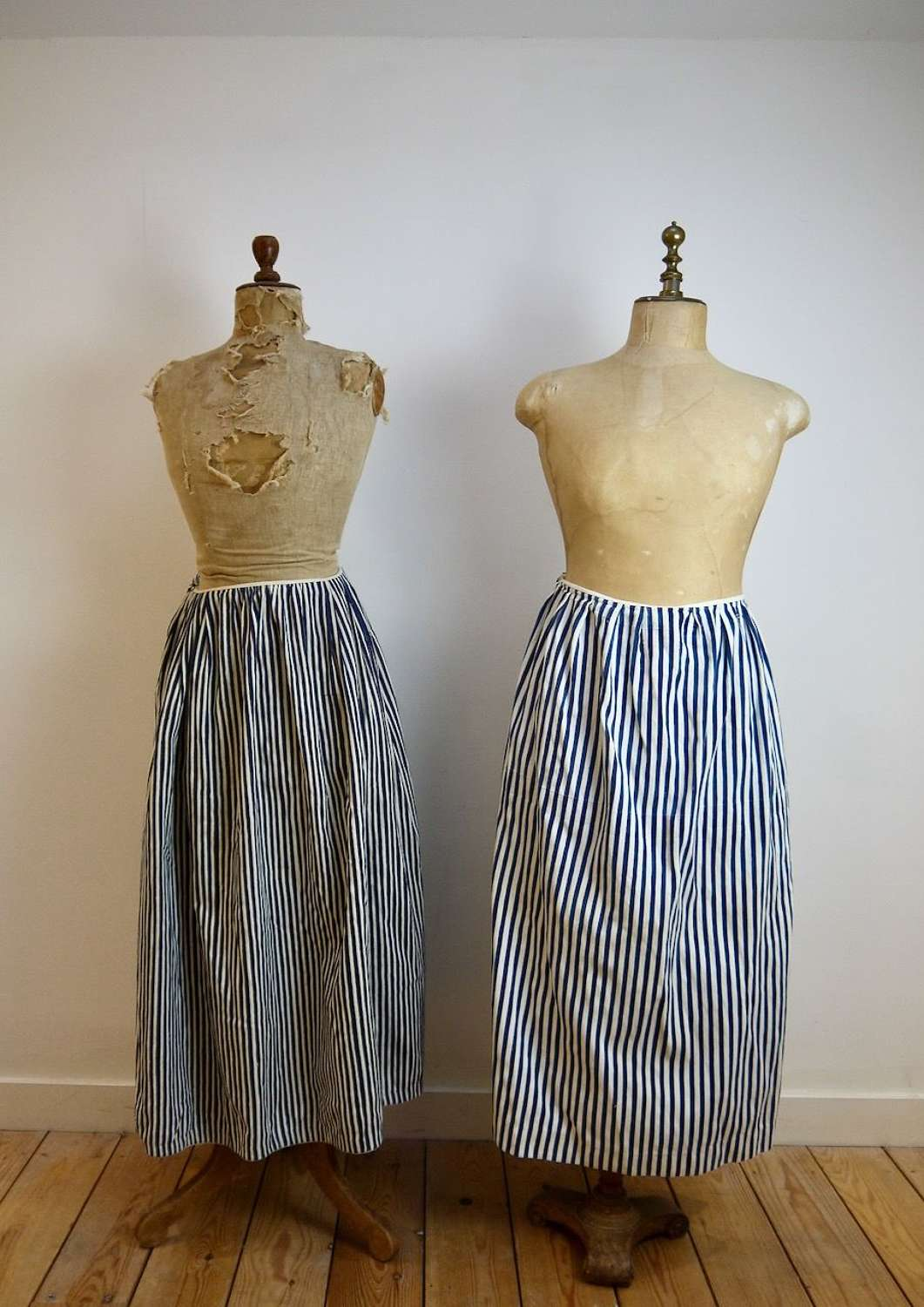 Blue & White Striped Cotton Jupons French 19th Century