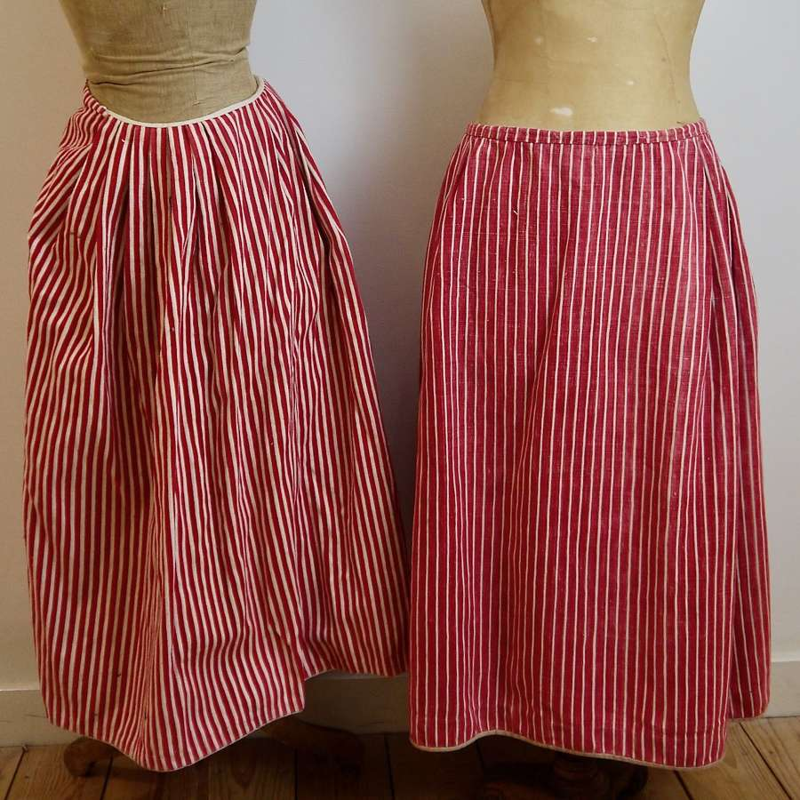 Red & White Striped Cotton Jupons French 19th Century