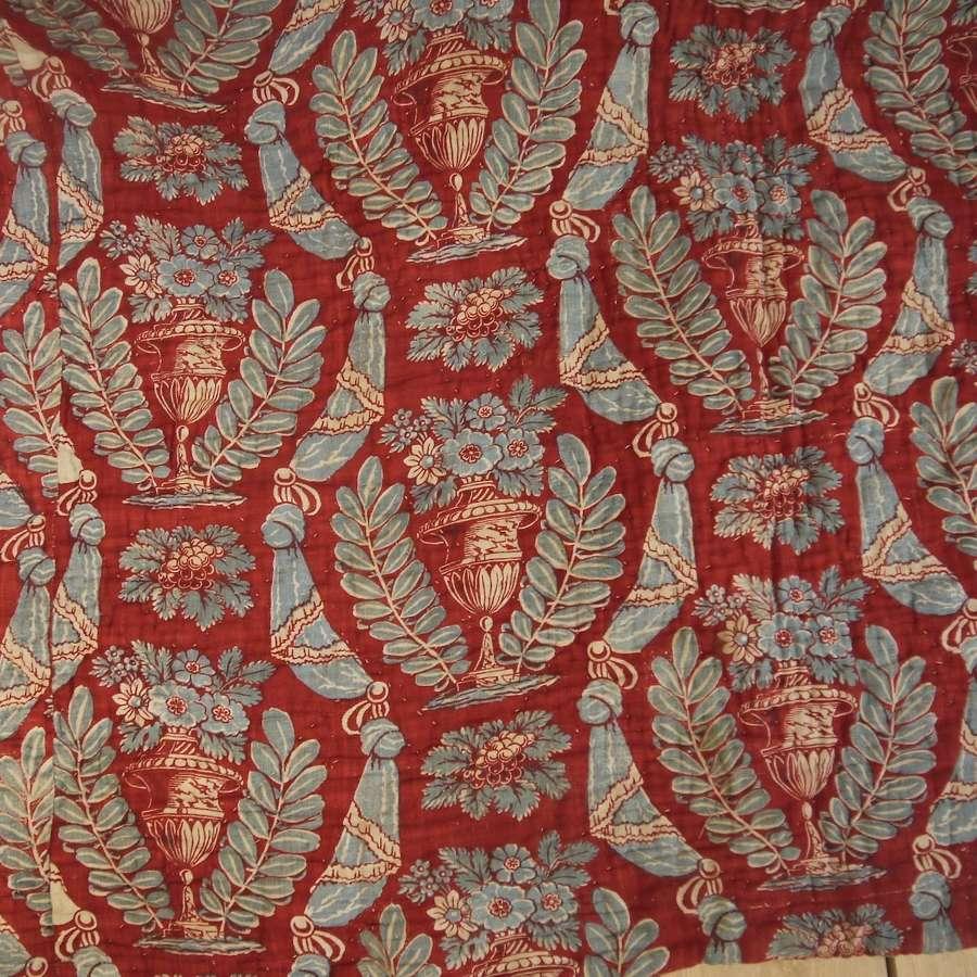 Flowering Urns Blockprinted Quilt French 18th Century