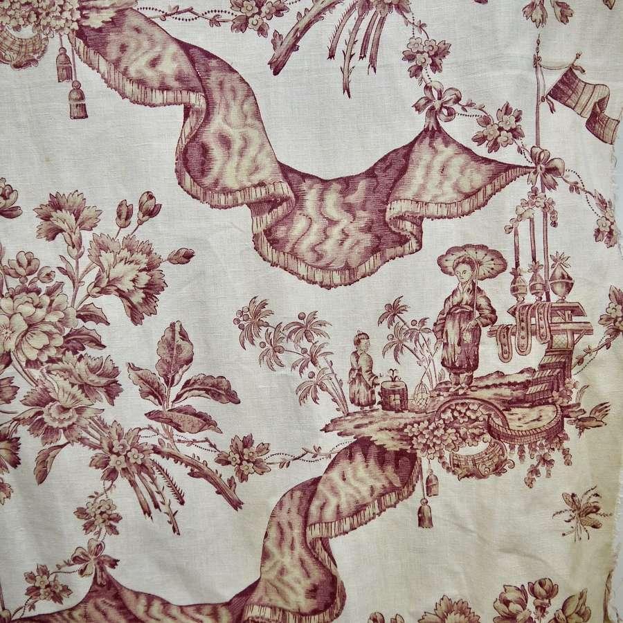 La Draperie Chinoiserie Linen French 19th Century