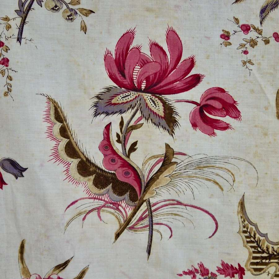 Indienne Flowers Cotton Curtain French 19th Century