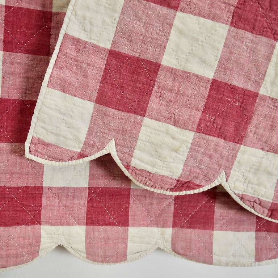 Red Vichy Check Cotton Pelmet French 19th Century