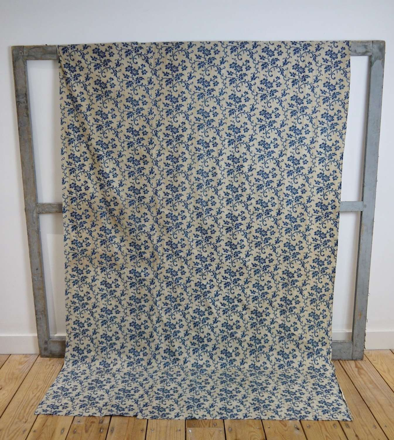 Blue Flowers Cotton Single Curtain French 19th Century