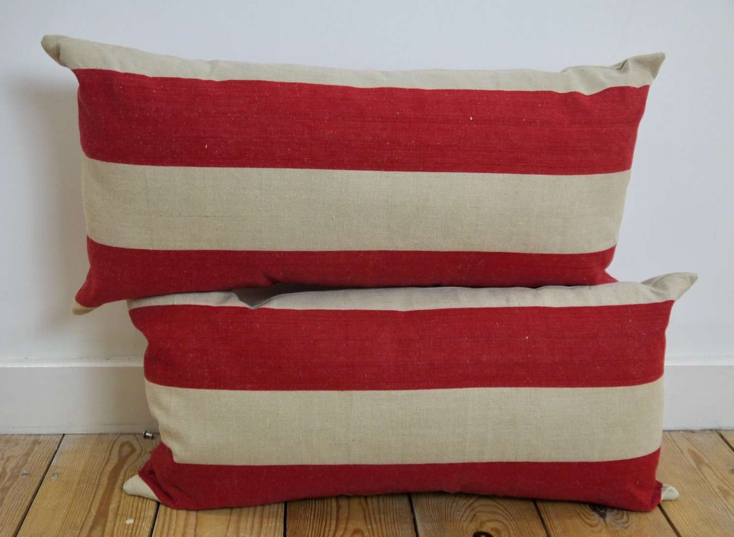 Pair of Red Striped Linen Cushions French Early 20th Century