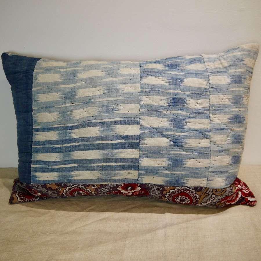 Indigo Flamme Ikat Cushion French 18th Century