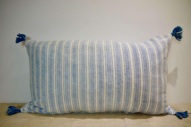 Faded Indigo Striped Cushion French 19th Century