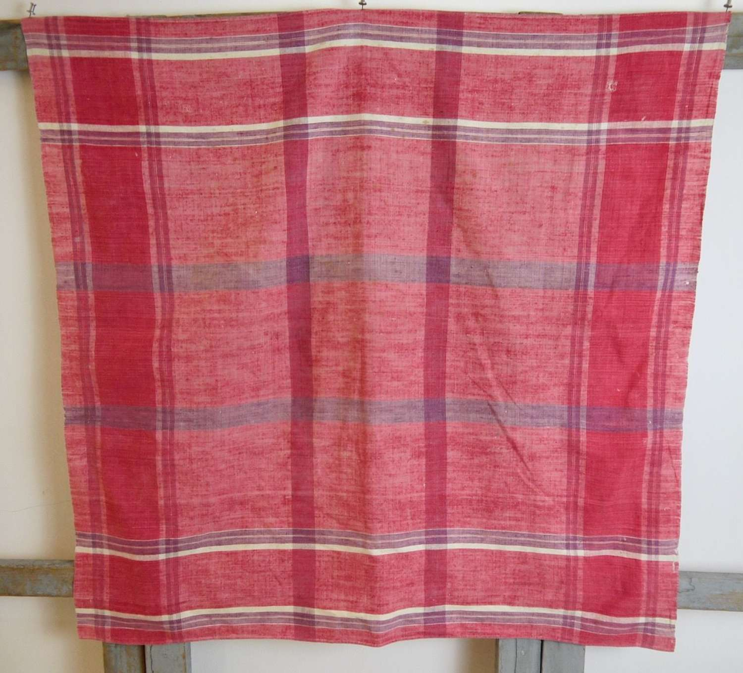 Red Mouchoir Cotton French Early 19th Century