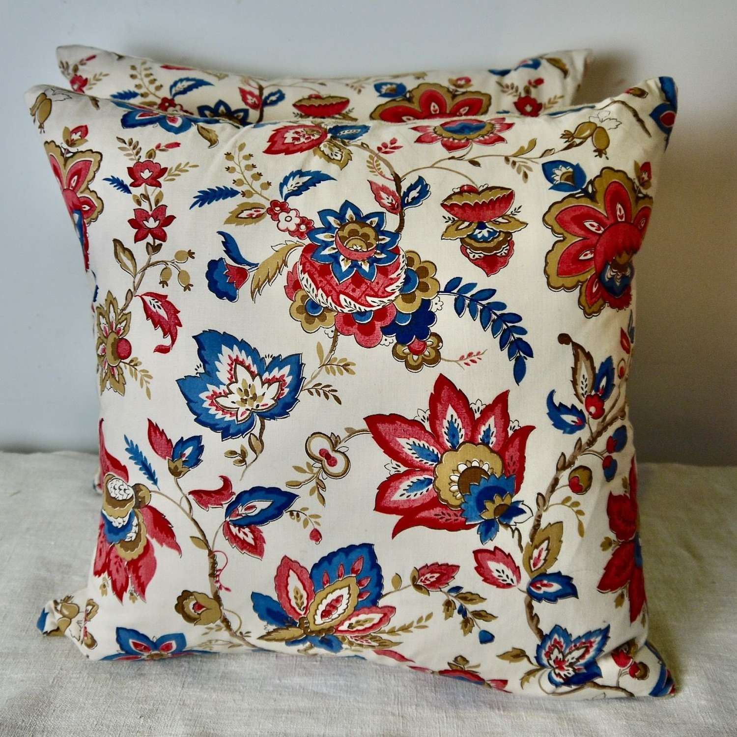 Pair of French Indienne Cotton Cushions