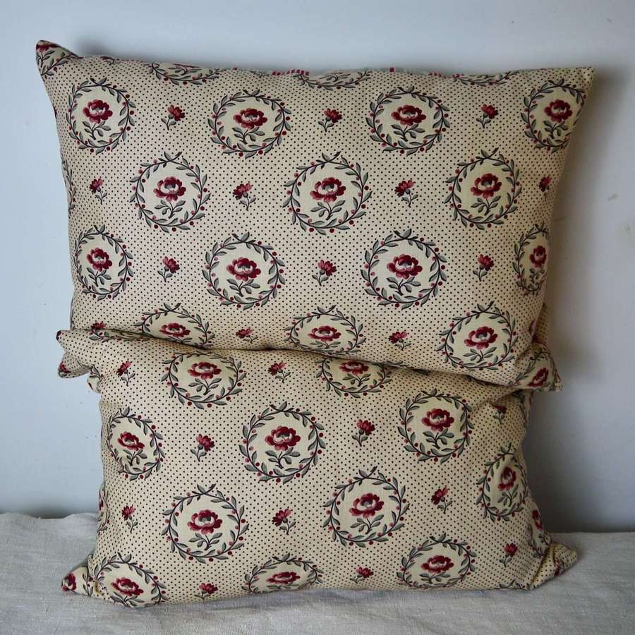 Pair of Roses Linen Cushions French