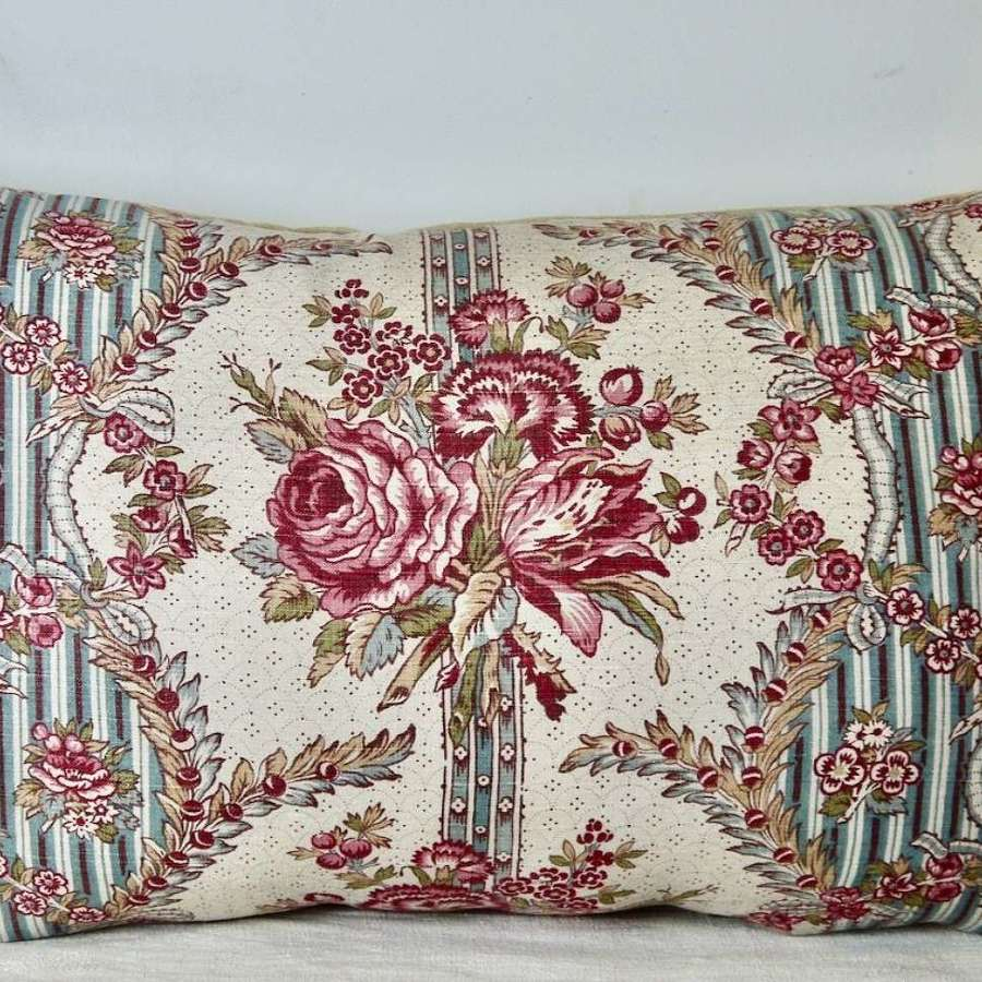 Roses Floral Linen Cushion French 19th Century
