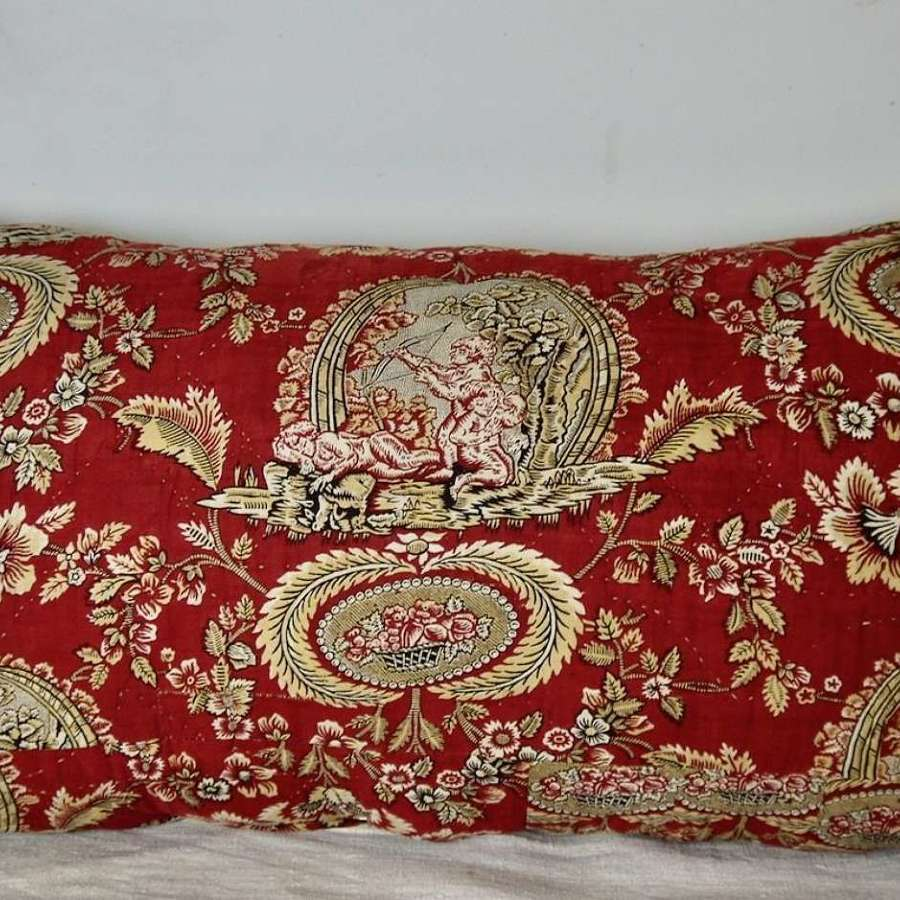 Toile Cupid Cushion French 18th Century