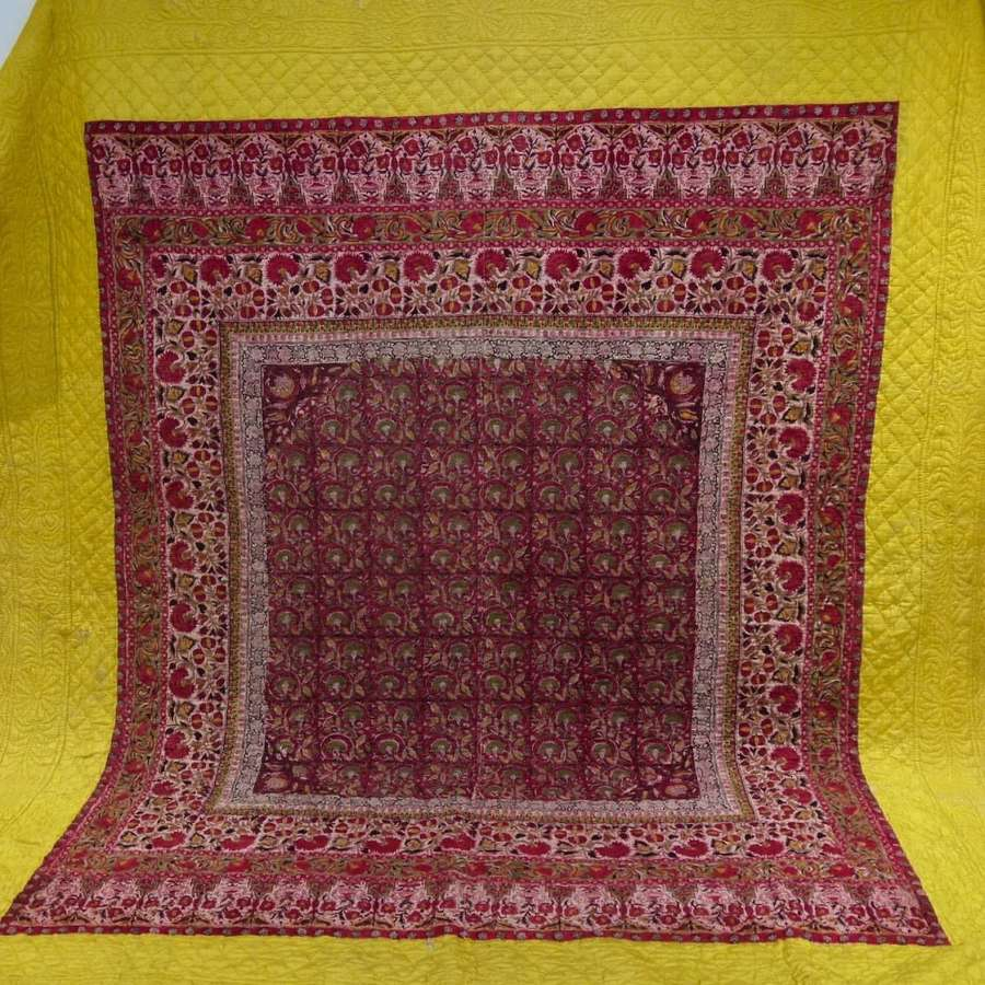 Block Printed Cotton & Silk Quilt French 18th Century