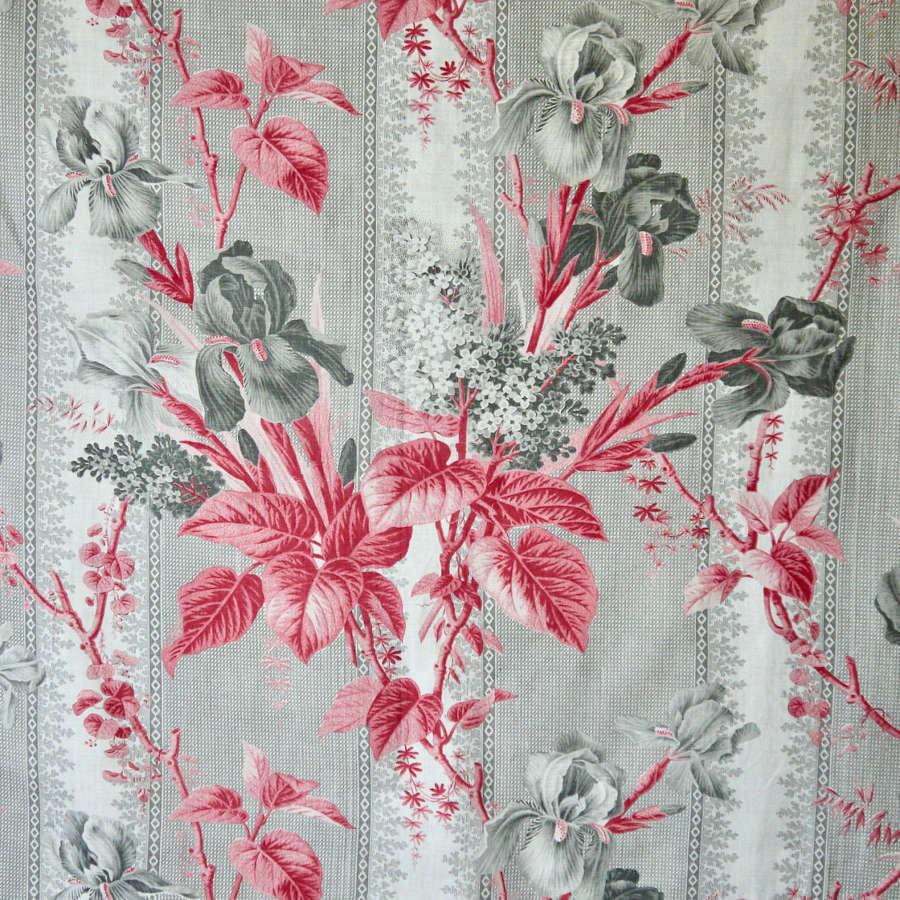 Irises Cotton Print French 19th Century