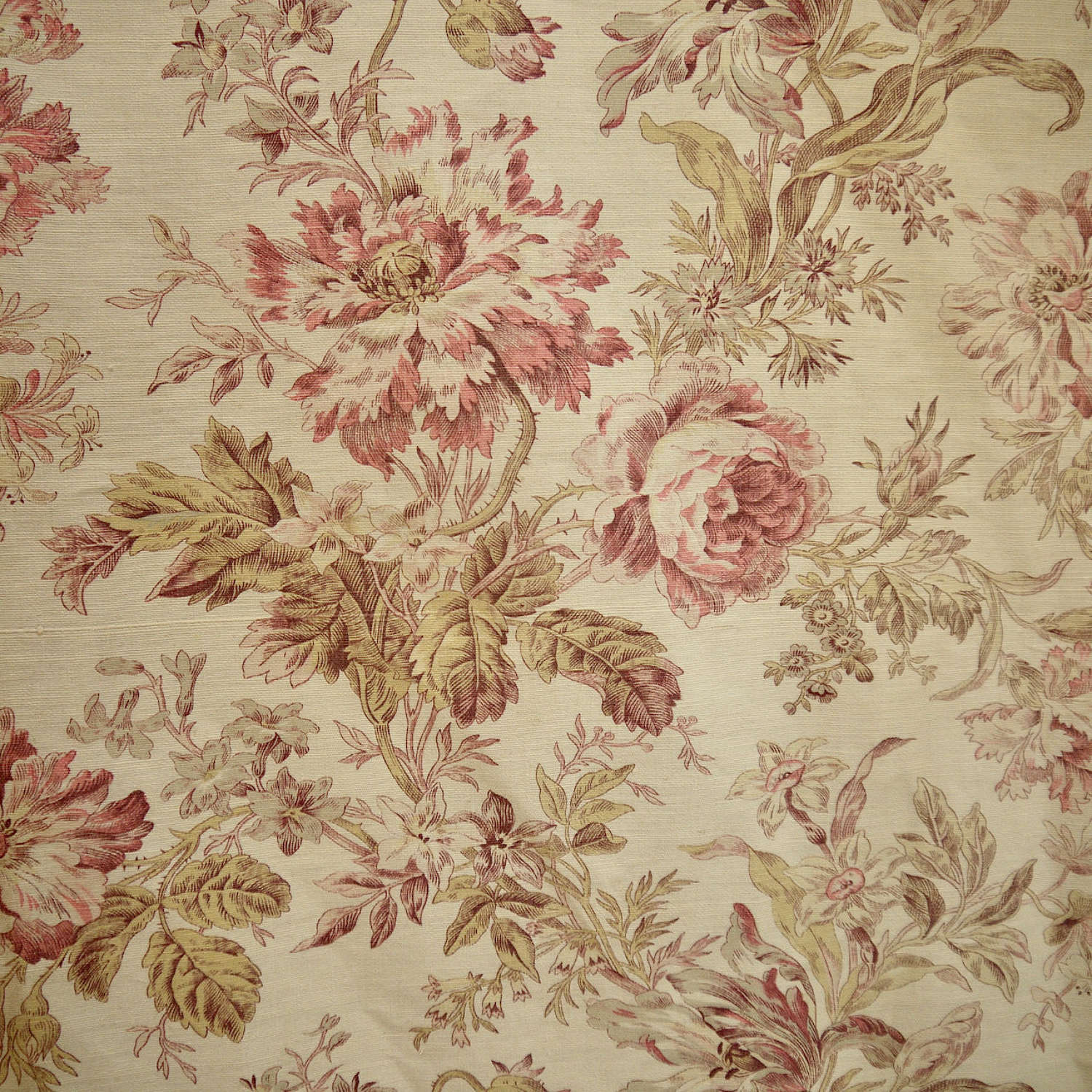 Faded Floral Cotton Curtain & Panel French 19th Century