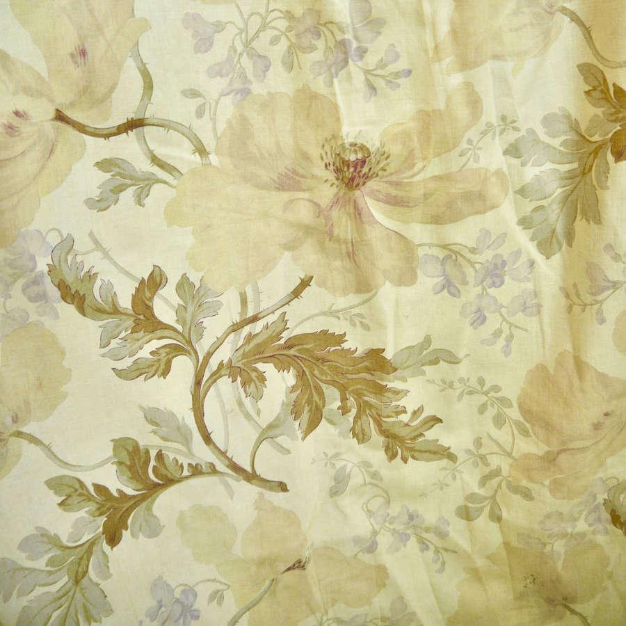 Pair of Cotton Curtains English 19th Century